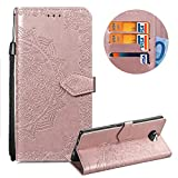 Leather Wallet Case for Sony Xperia XA3 Ultra,Moiky Stylish Rose Gold Mandala embossed Pattern Soft PU Leather Magnetic Stand Clamshell Case Silicone Rubber Protective Cover for Sony Xperia XA3 Ultra