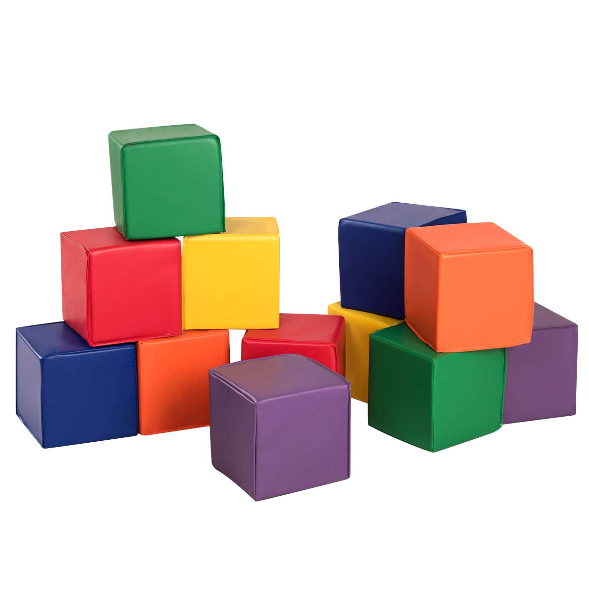 Costzon Soft Blocks, Toddler Foam Block Playset for Safe Active Play and Building, Indoor Climbers Stacking Play Set Learning Toys for Toddlers, Baby, Kids and Preschooler (8-Inch, 12-Piece)