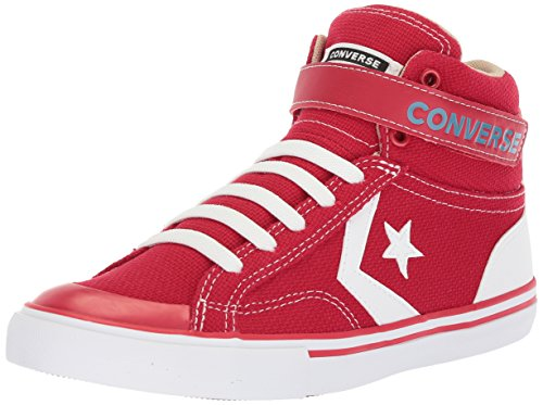 Converse Boys' Pro Blaze Summer Sport Canvas High Top Sneaker, Gym Red/Vintage Khaki/White, 1 M US Little Kid