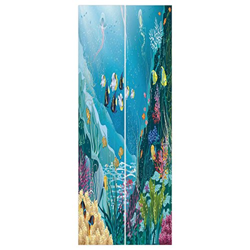 (3d Door Wall Mural Wallpaper Stickers [ Ocean Decor,Underwater Landscape with Tropical Fish and Algae Polyps Descriptive Nautical Image,Multi ] Mural Door Wall Stickers Wallpaper Mural DIY Home Decor)