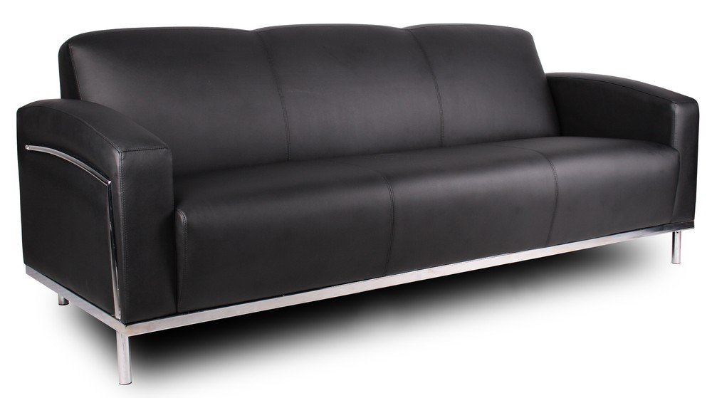 Nice Amazon.com: Boss Office Products BR99003 BK CaressoftPlus Sofa With Chrome  Finish In Black: Kitchen U0026 Dining