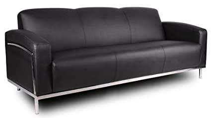 Boss Office Products BR99003 BK CaressoftPlus Sofa With Chrome Finish In  Black