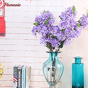 ShineBear Outstanding Artificial Silk Lilac Flowers 4 Branches 1 Bouquet Lilac Simulation Silk Flower Bride Bouquet New Year Home Party – (Color: Purple)