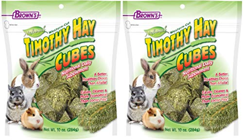 FM Brown's 2 Pack of Timothy Hay Cubes, 10 Ounces Each, for Rabbits Guinea Pigs and Chinchillas ()