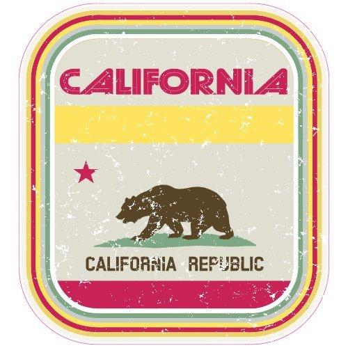 U.S. Custom Stickers California Vintage Retro Flag Sticker, 4