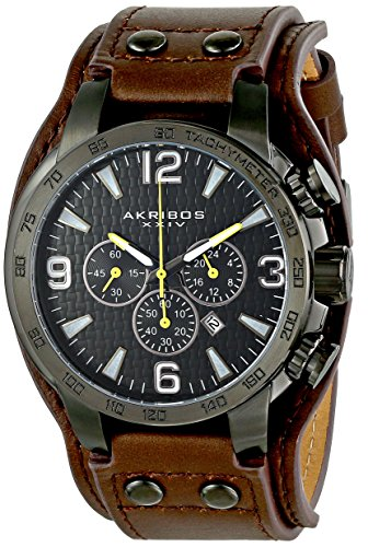 Akribos-XXIV-Mens-AK727BKBR-Conqueror-Stainless-Steel-Watch-with-Leather-Strap
