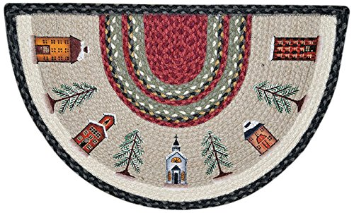 (Earth Rugs 32-338 Winter Village Slice Rug, 18-Inch by 29-Inch, Burgundy/Olive/Charcoal)