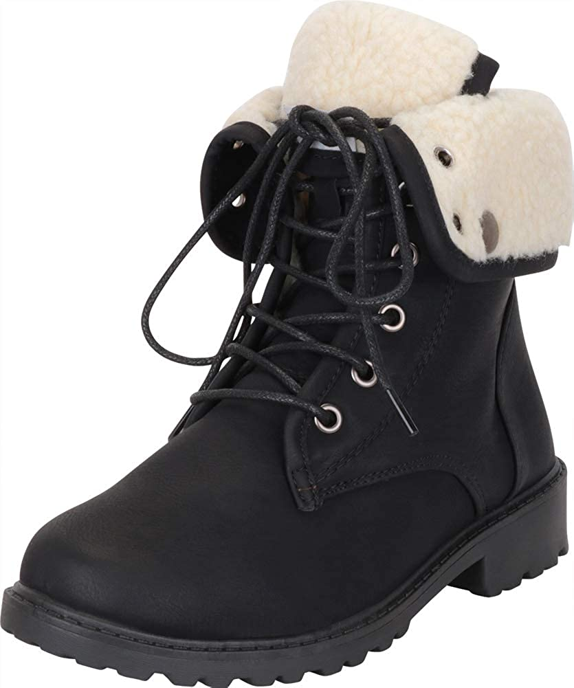 Black Pu Cambridge Select Women's Lace-Up Foldover Cuff Faux Shearling Lined Lug Sole Ankle Boot