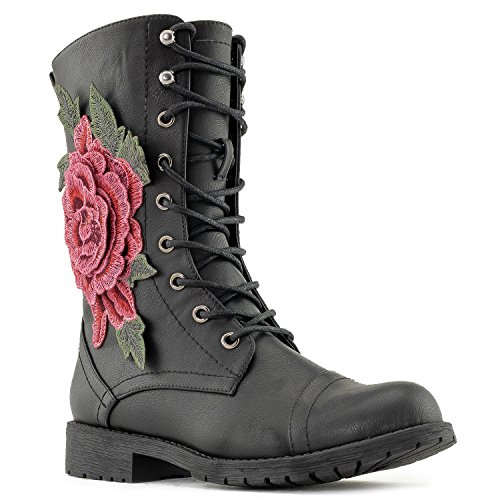 Combat Mid Pocket 3d Black Pu Military Calf Women's Up Boots Lace With Flower 5ZqSnxIBv