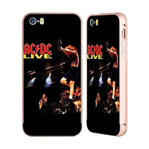 Officiel AC/DC ACDC En Direct Art D'album Or Étui Coque Aluminium Bumper Slider pour Apple iPhone 5 / 5s / SE
