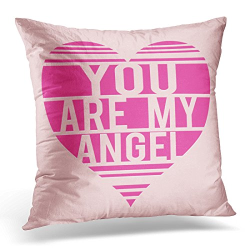 - Sdamase Throw Pillow Cover Pink Heart Love Angel Girl Graphics Wing Decorative Pillow Case Home Decor Square 18