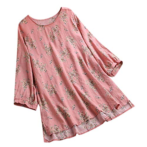 Tronet Summer Tops for Women 2019 Printed Long Sleeve Button Down Cotton Linen t-Shirt Casual Blouse Tops