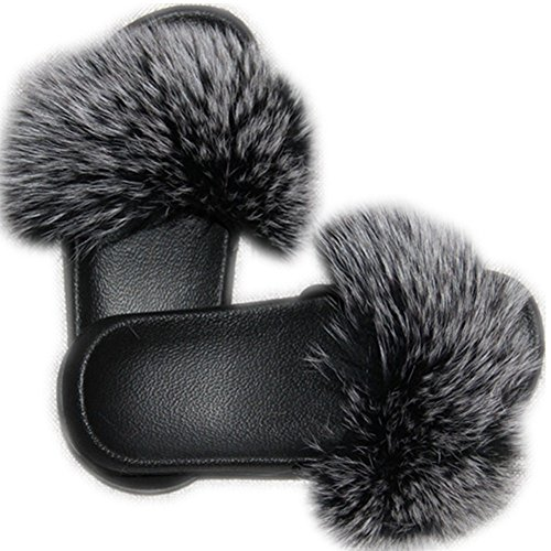 Leather Single Strap - Women Real Fox Fur Feather Vegan Leather Open Toe Single Strap Slip On Sandals Multicolor (12, Grey-1)