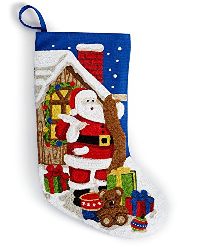 (Holiday Lane 18-in Crewel Stitch Needlepoint Santa Christmas Stocking, Blue)