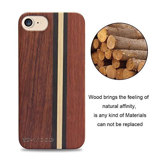 Yfwood compatible for iphone 7 wood case, real wood pattern high impact durable shockproof heavy duty back protective… 2 ❶ wooden iphone 7 case,iphone 8 case ,slim-fit, so it won't make your device bulky, or difficult to manage. Easy to access all ports,controls and buttons without removing the case. The case edges are fully covered and slightly raised to protect your screen from scratches ❷good drop protection with reinforced corners: reinforcement bumper covers all 4 corners that raised bezel to lift screen and camera off flat surface that the iphone 7 wood case offer the maximum protection for your iphone 7/8 when it dropped. ❸ ergonomic design-practical protector, this stylish and luxurious wood cover offers an enhanced grip and textured geometric design that adds even more protection to this iphone 7 case,iphone 8 case