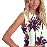 ROPALIA Women Coconut tree Print Top Vest Blouse - Best Reviews Guide
