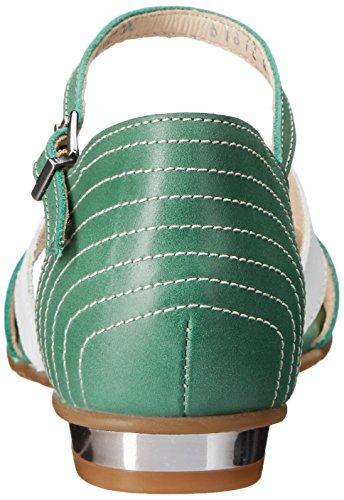 Fidji Femmes V638 Robe Sandale Vert / Blanc