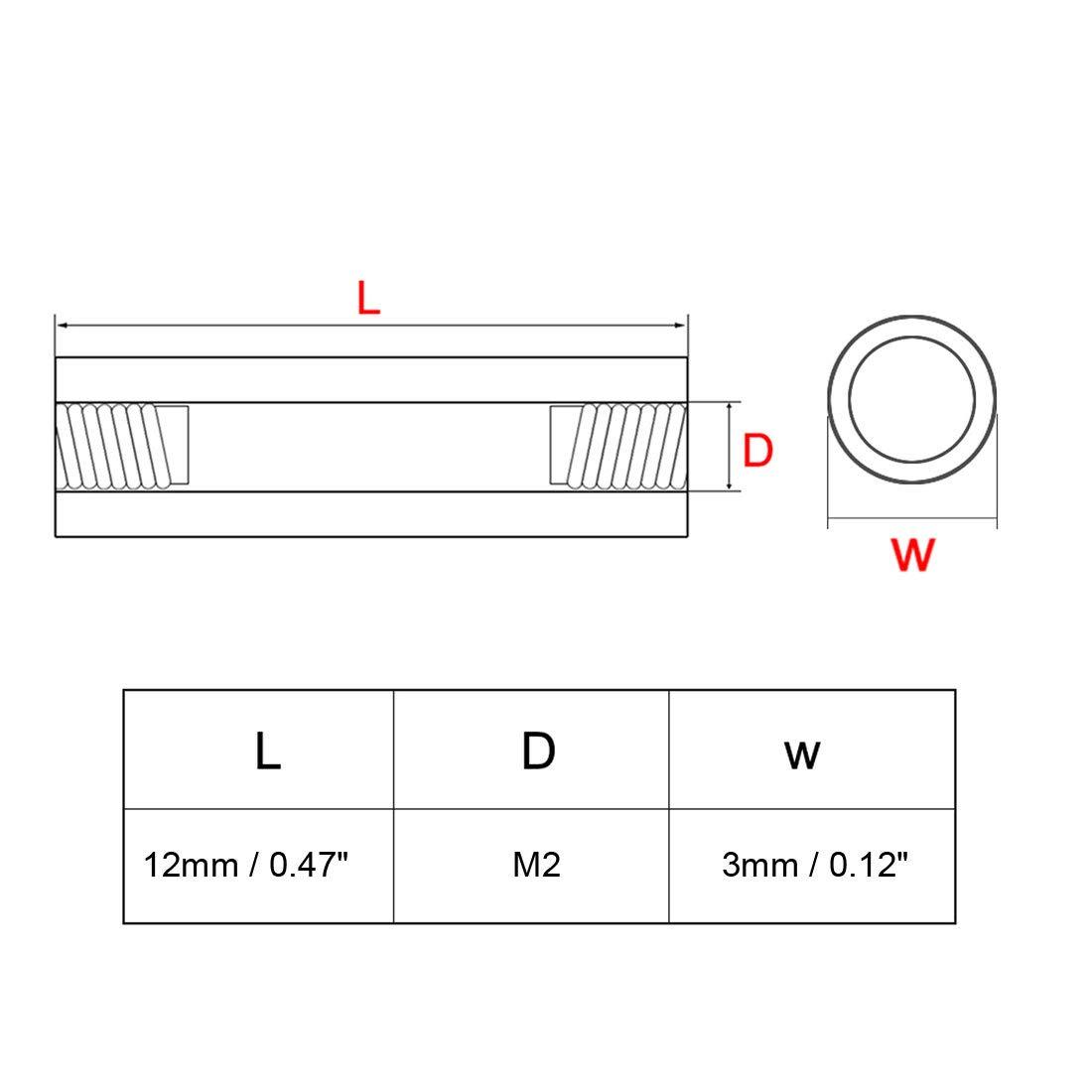 uxcell 50pcs Brass Round Straight PCB Pillar Female Thread Standoff Spacer M2x3x21mm