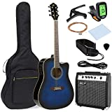 Best Choice Products 41in Full Size All-Wood Acoustic Electric Cutaway Guitar Musical Instrument Set w/ 10-Watt Amplifier, Capo, E-Tuner, Gig Bag, Strap, Picks, Extra Strings, Cloth - Blue