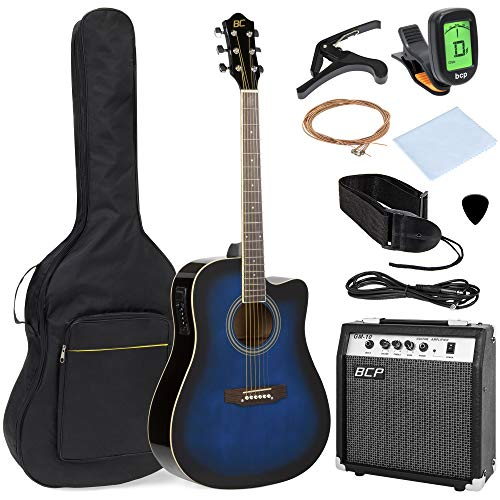Best Choice Products 41in Full Size Acoustic Electric Cutaway Guitar Set w/ 10-Watt Amp, Capo, E-Tuner, Case - Blue ()