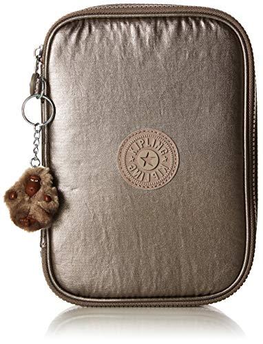 Kipling 100 Pens Case, Zip Closure, Interior Organization, Metallic Pewter