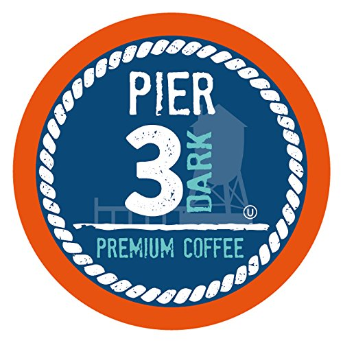 Pier 3 Dark Roast Coffee Pods, Compatible with 2.0 K-Cup Brewers, 40 Count