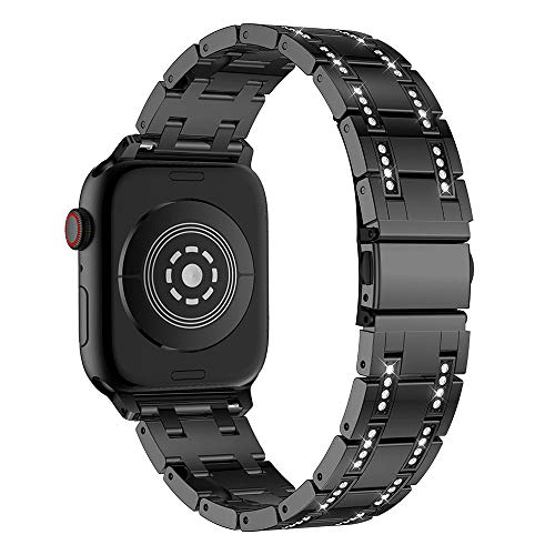 Diamond Black Croc Leather - Insaneness for Apple Watch Series 4 44MM,Rhinestone Accessory Watch Band Strap (Black)