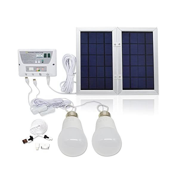6W-Portable-Solar-PanelFalove-Solar-LED-lighting-system-2-x-2W-comparable-LED-lights-6W-Solar-Panel-37-V-8000-mah-Lithium-Battery-Charge-Controller-USB-Port-with-Cell-Phone-Chargers-Included