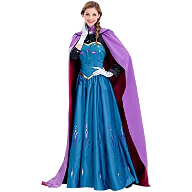3a960a49bc2aa Image Unavailable. Image not available for. Color: COSSHOW Snow Queen  Princess Dress Anna Coronation Cosplay Costume for Adult Women Halloween  Party ...