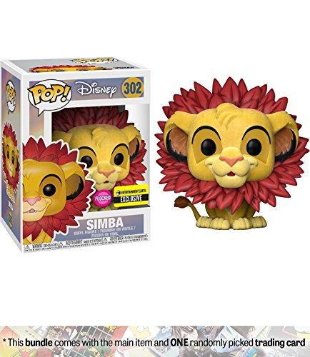 Simba - Flocked (EE Exclusive): Funko POP! Disney x Lion King Vinyl Figure + 1 Classic Disney Trading Card Bundle (24572) (King Sarabi Lion)