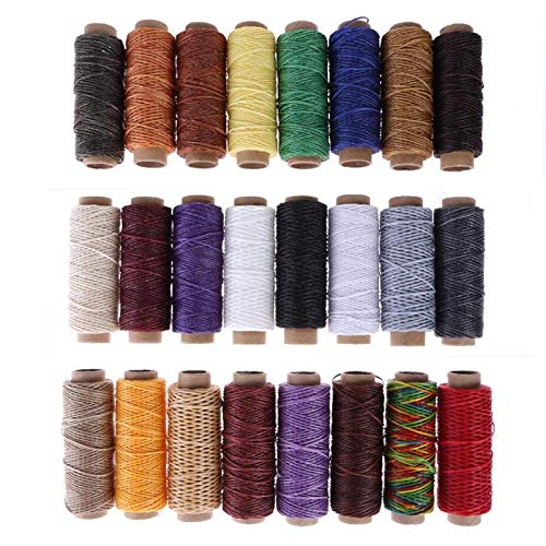 Sewing Threads 24pcs/set Leather Sewing Wax Thread Hand Stitching Cord Craft DIY Leather Tools Knitting Craft Leather Special Flat Wax line by ST_GROUP03