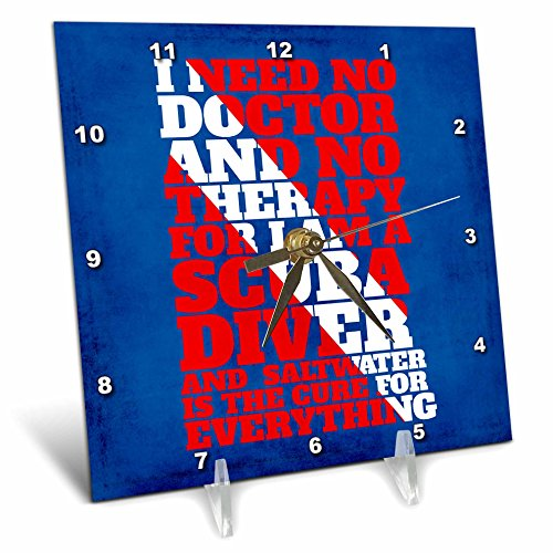 3dRose Andrea Haase Inspirational Typography - Word Art For Scuba Divers In Red White Dive Flag Colors On Blue - 6x6 Desk Clock (dc_268346_1) -