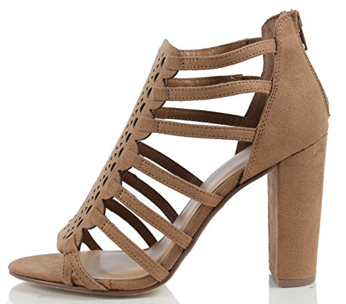 Chunky Faux Delicious Tan Heel Suede Womens Strappy Light Cutout Sandal Dress w5wxqXaHv