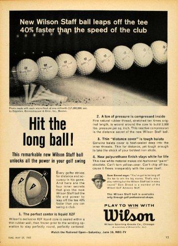 1962 Ad Wilson Staff Golf Balls Tee X2F Liquid Center - Original Print Ad