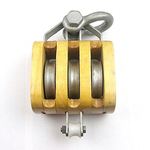 Triple Rigging (Load Rated - Triple Sheave Rigging Wood Block w/Shackle (4