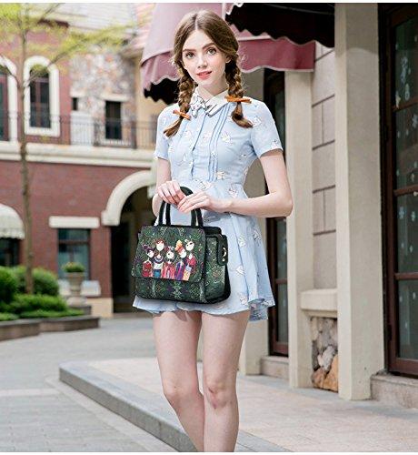 Versione femminile Piccola Ctooo Verde Coreana Moderna Borsa Stampa wSzwqv