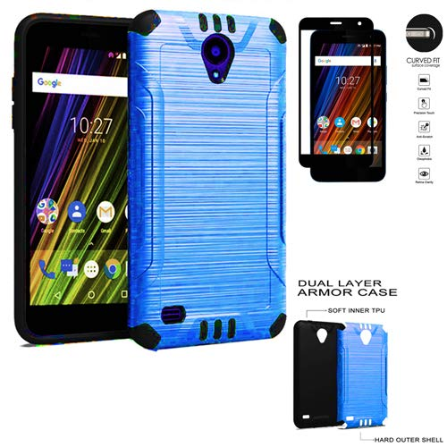 reputable site c4649 db3ff Phone Case for Cricket Wave (2018) FTU18A00 Tempered Glass- Brush Textured  Dual-Layered Cover (Combat Blue-Black TPU/Tempered Glass)