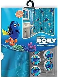 13pc Disney Finding Nemou0027s Dory Shower Curtain And Hooks Set