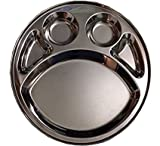 Steel Five Compartment Round Plate , dinner Thali,Mess Tray, Dinner Plate 1pcs,steel plate with partition,round thali,lunch plate,lunch thali,steel dinnerware plate