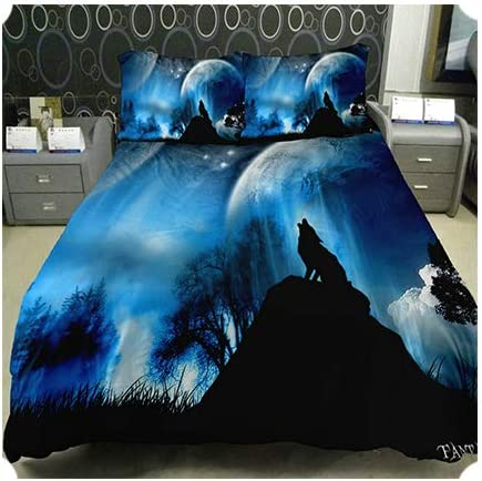 (Xk11) Soft Luxury Youth 100% Polyester Shell Fully Reversible 3-Piece Modern Galaxy und Wolf Duvet Cover Satz Twin Size Full Size Queen Size King Size nicht Comforter (Full)