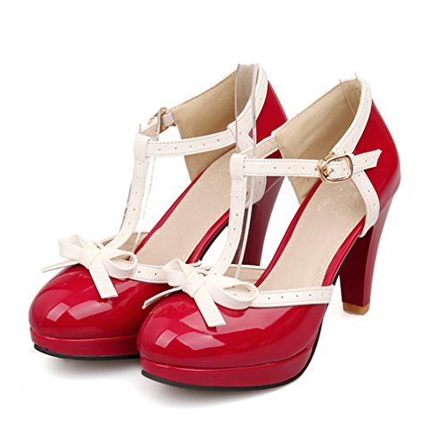 Rouge en Journée Lanière Marriage à Douce et UH Blocs Talons avec Noeud T Sandales et Femmes Confortables pour avec Plateforme xSqwwtHp4