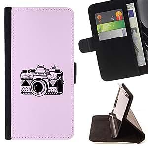 - Queen Pattern FOR Sony Xperia m55w Z3 Compact Mini /La identificaci????n del cr????dito ranuras para tarjetas tir????n de la caja Cartera de cuero cubie - pink camera retro vint