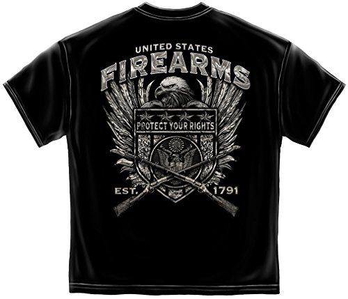Patriotic Short Sleeve Shirts, 100% Cotton Casual Mens Shirts, Show Your Pride with our 2nd Amendment United States Fire Arms Silver Foil Unisex T-Shirts for Men or Women (XXX-Large) from Erazor Bits
