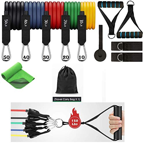 Grab Classy Resistance Band Set Latex Resistance Band Set with Cooling Towel 12 Pieces Weight 10-50 LBS Total 150LBS…