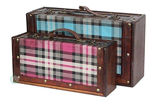 - Vintiquewise(TM) Tartan Plaid Suitcase Decor Set, Blue/Pink