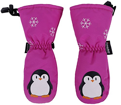 YoungLove Girls Cartoon Printing Snow Mittens Waterproof Gloves for Winter