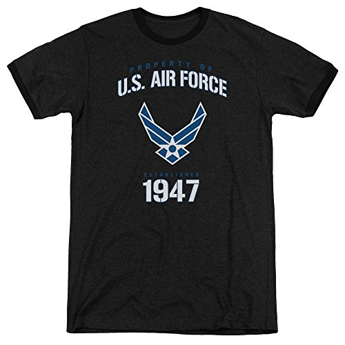 Air Force Property of Unisex Adult Ringer T Shirt for Men and Women, Large Black
