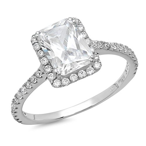 1.75 Ct Emerald Diamond (Clara Pucci 1.75 CT Emerald Cut Halo Solitaire Wedding Engagement Ring Bridal band 14k White Gold, Size 7.5)