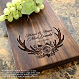 Deer Antlers Anniversary Personalized Cheese Board - Anniversary Gift, Wedding Gift, Gift for Couples, Housewarming Gift. #412