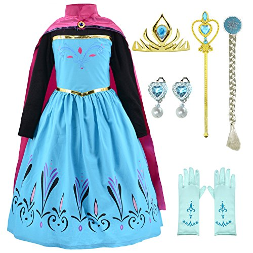 Snow Queen Coronation Dress Up Costume with 6 Accessories Set for Girls 2t-5t (Cape Crown Wand Wigs Earrings Gloves)